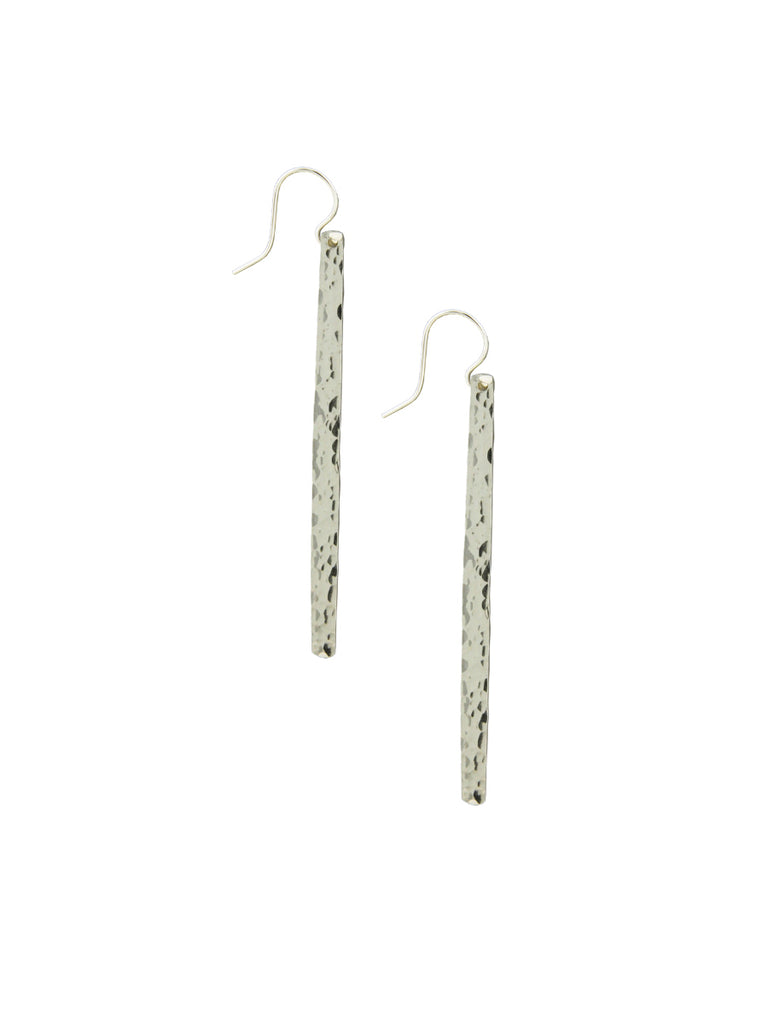 Long Hammered Stick Earrings | Silver Rose Gold Niobium | Light Years