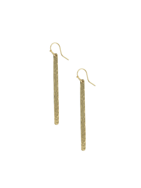 Long Hammered Stick Earrings