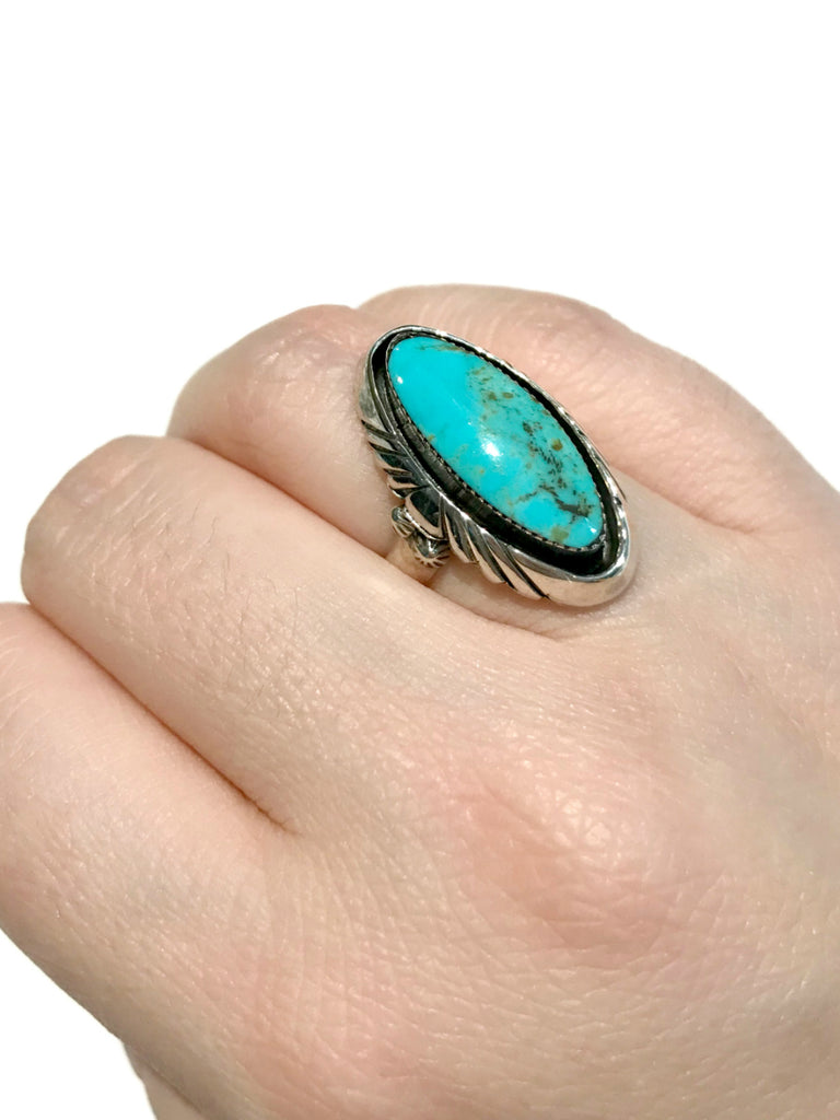 Handmade Navajo Turquoise Ring | Sterling Silver Size 6 7 8 | Light Years