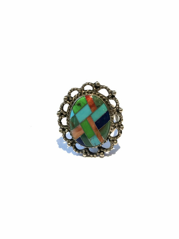 Navajo Stone Inlay Statement Ring | Sterling Silver Size 7 | Light Years