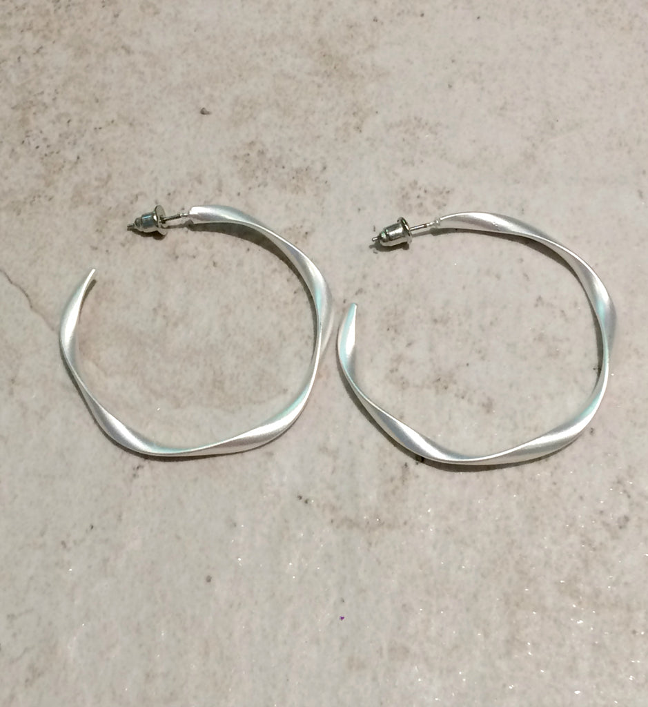 Twisted Matte Hoops | Silver Gold Fashion Earrings | Light Years Jewelry