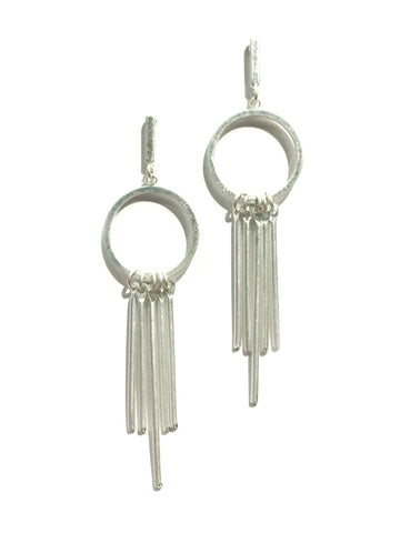 Matte Silver Bar Dangles | Fashion Post Earrings | Light Years Jewelry