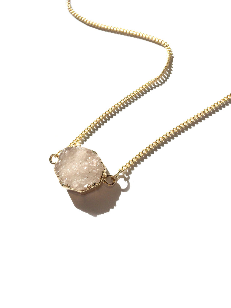 Natural Druzy Necklace | Fashion Gold Pendant | Light Years Jewelry
