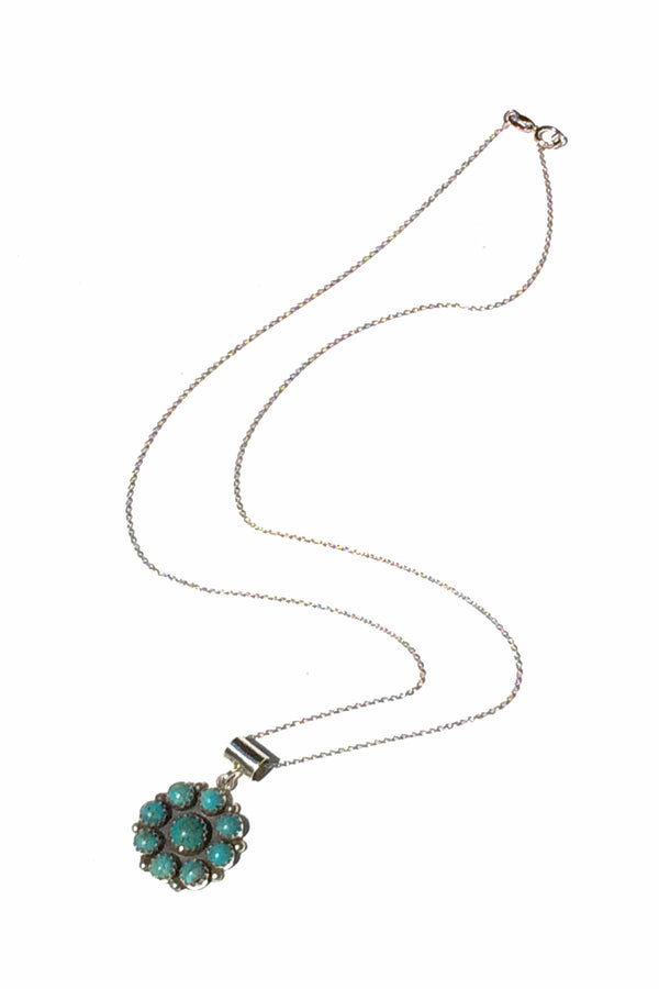 Turquoise Flower Necklace | Navajo Handmade Sterling Silver | Light Years