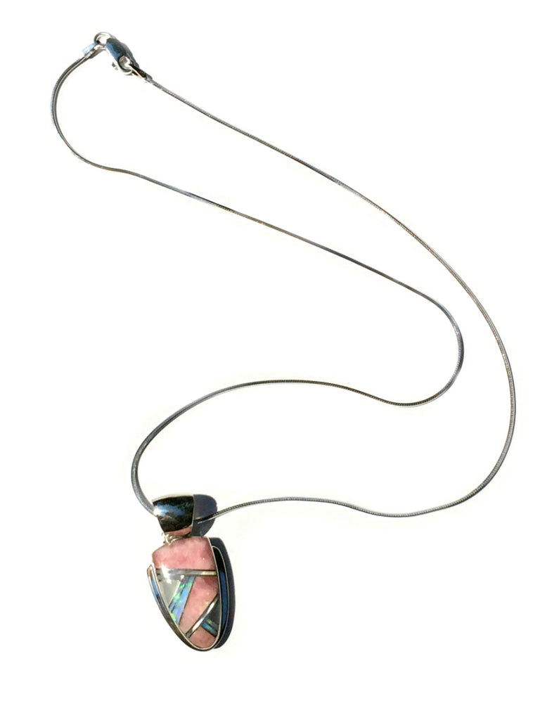 Handmade Navajo Inlay Pendant Necklace | Sterling Silver | Light Years