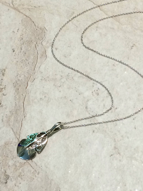 Geometric Navajo Etched Feather Necklace | Sterling Silver | Light Years