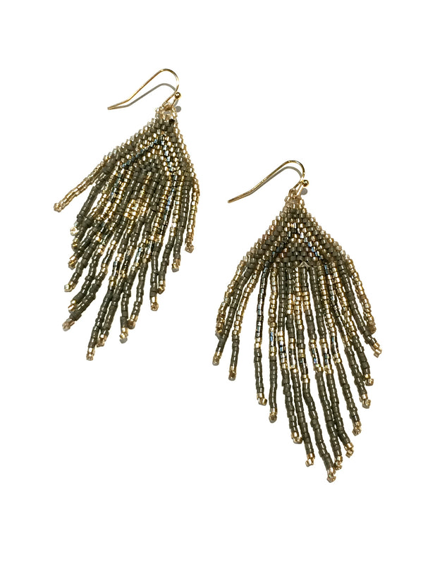 Beaded Chandelier Earrings | Gold Fashion Dangles | Light Years Jewelry