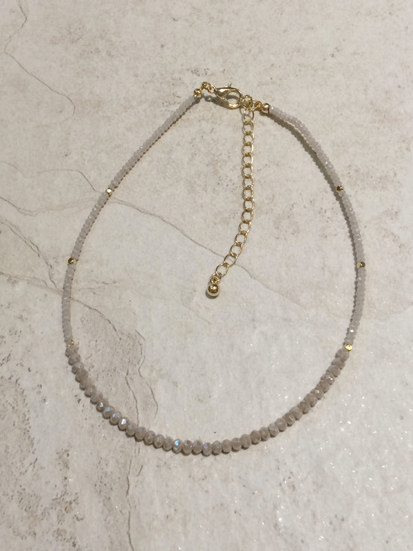 Taupe Crystal Beaded Choker | Fashion Necklace | Light Years Jewelry