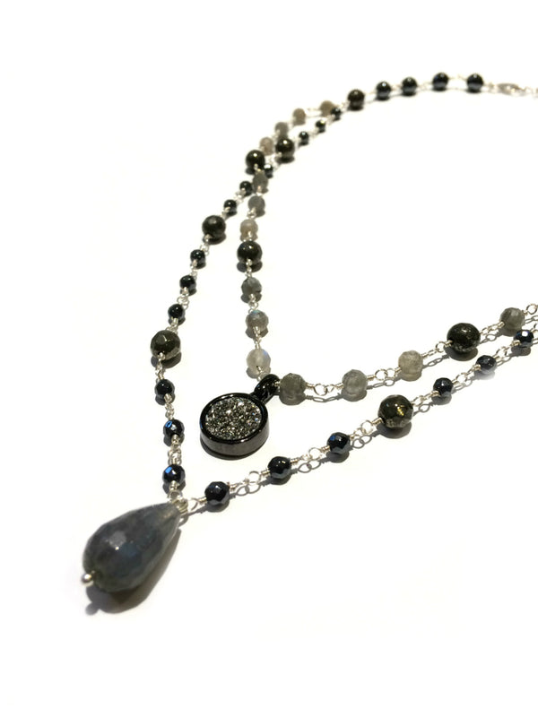 Labradorite & Druzy Layered Necklace | Sterling Silver | Light Years