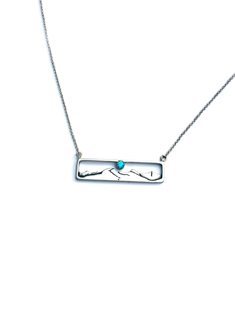 Mountain Range Necklace | Blue Topaz Silver Plated Brass | Light Years