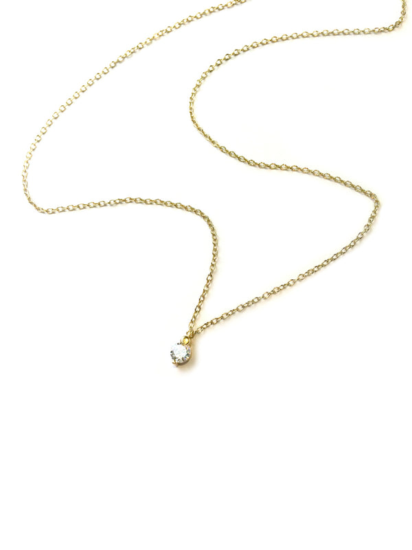 "Subtle CZ Necklace | 15-17"" Sterling Silver Vermeil Chain 