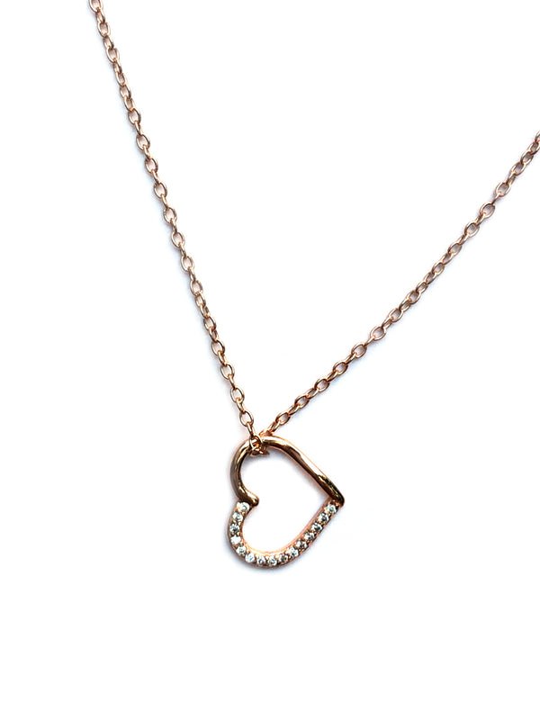 Rose Gold Heart Necklace | CZ Lined Vermeil Pendant Chain | Light Years