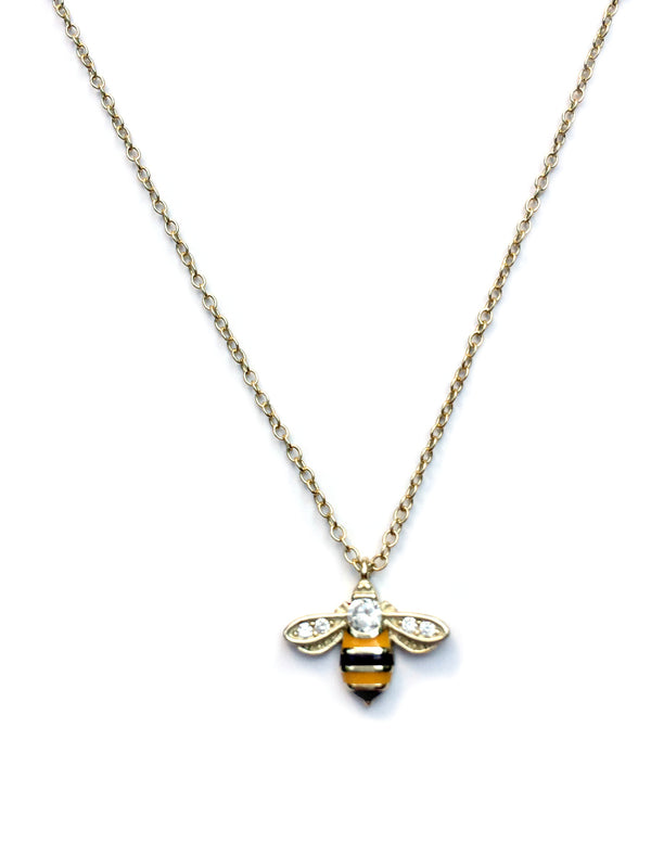 Enamel & CZ Bee Necklace