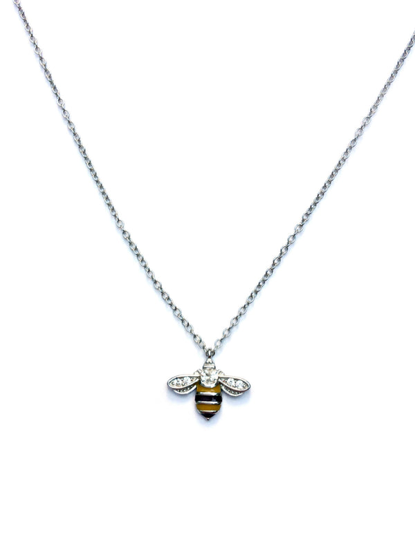 Enamel & CZ Bee Necklace | Sterling Silver Gold Vermeil | Light Years