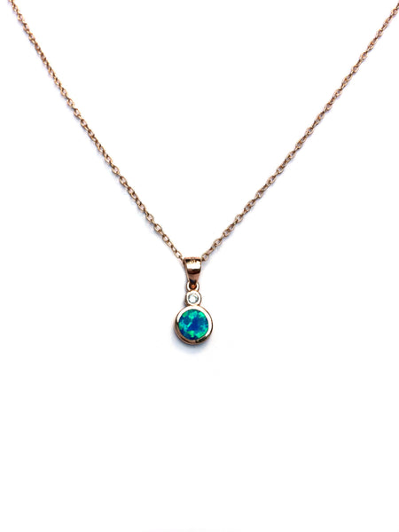 Opal Disc with CZ Necklace | Rose Gold Vermeil | Light Years Jewelry