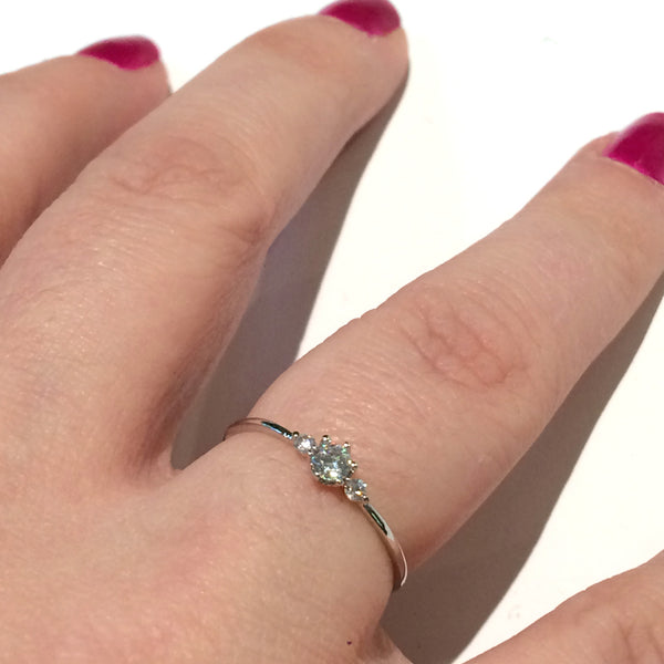 3 CZ Ring | Silver Plated Band Cubic Zirconia | Light Years Jewelry