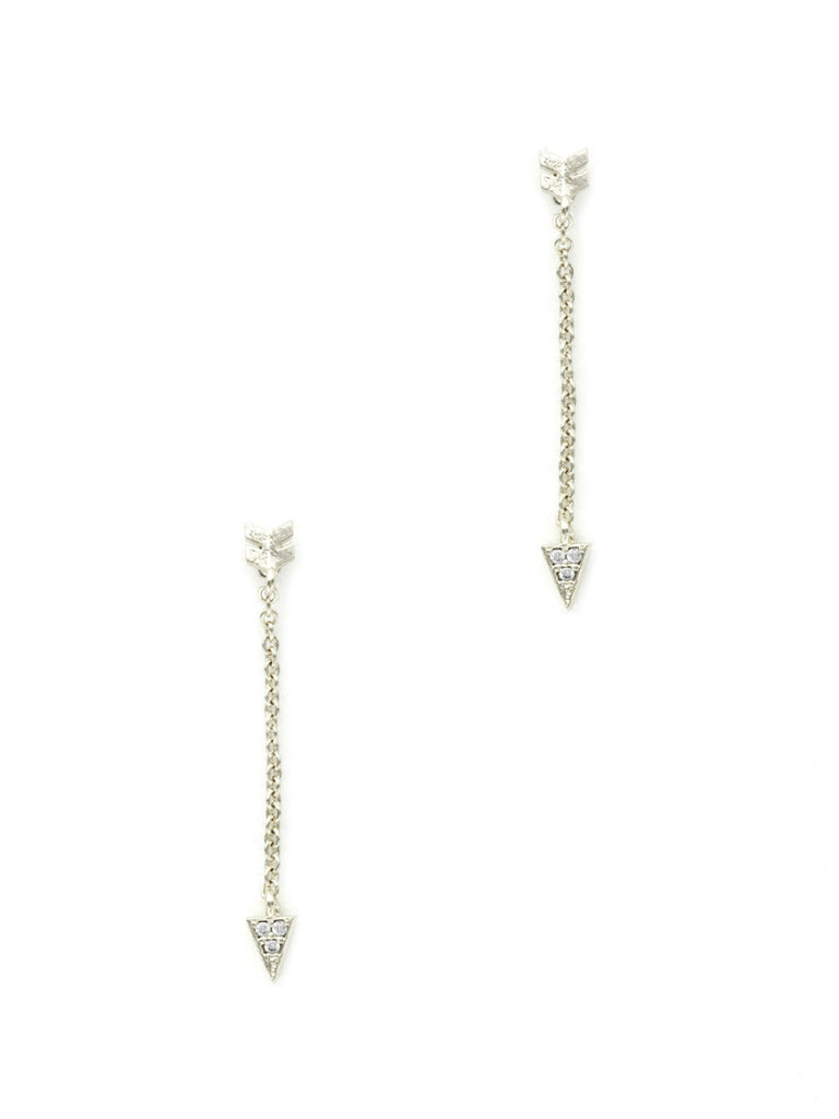 Arrow & Chain Posts | Silver Plated Earrings | Light Years Jewelry