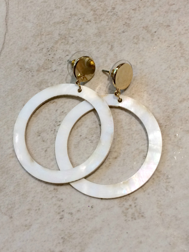 Mother of Pearl Ring Earrings | Gold Fashion Posts | Light Years Jewelry