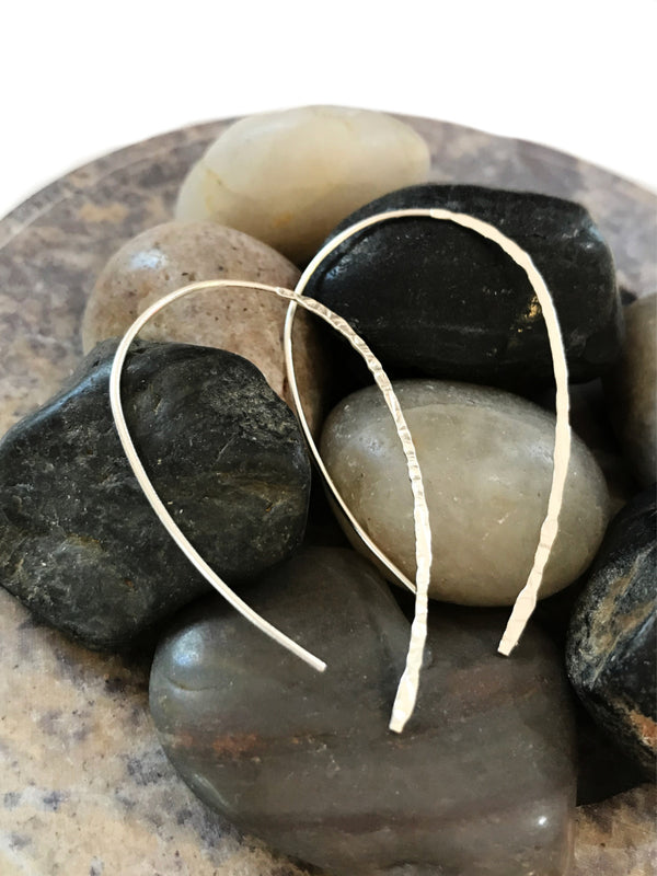 Hammered Loop Ear Threads | Silver Plated Threader Earrings | Light Years