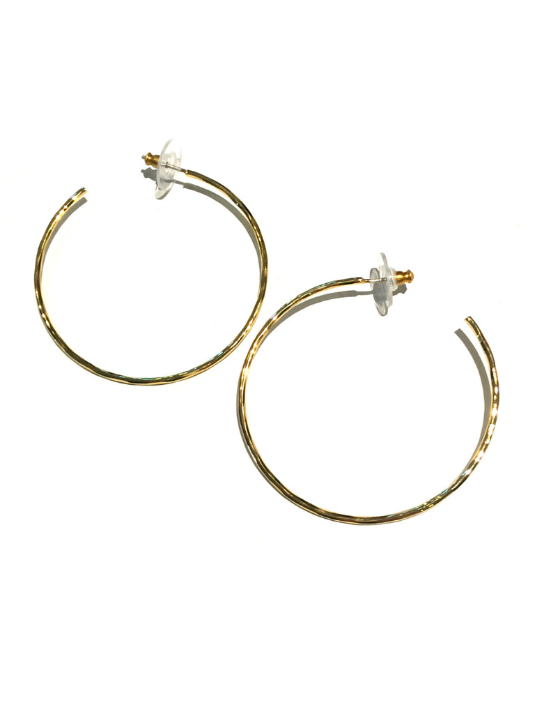 Hammered Post Hoops | Gold or Silver Fashion Earrings | Light Years