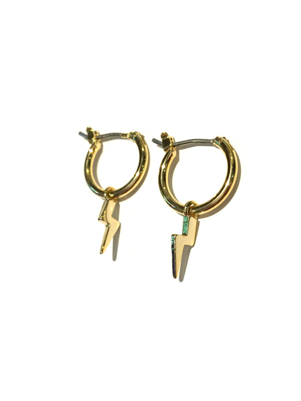 Celestial Hoop Earrings | Gold Plated Lightning Bolt | Light Years Jewelry