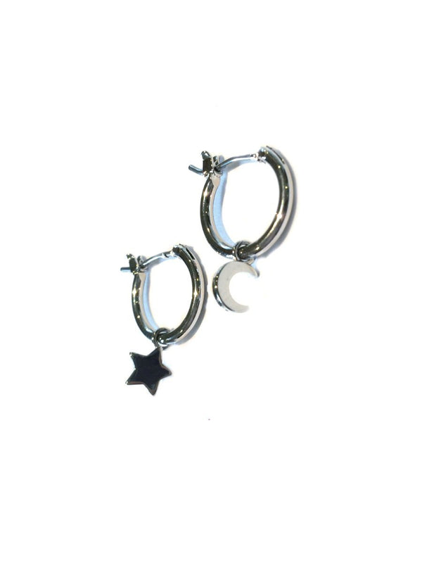 Silver Celestial Hoops | Moon Star Lightning Bolt | Light Years Jewelry