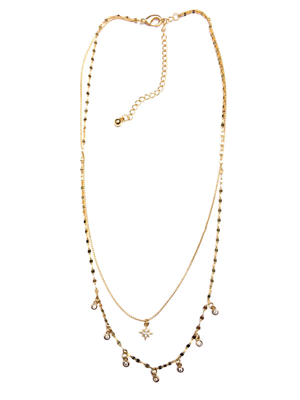Layered CZ Star Necklace | Gold Plated Cubic Zirconia | Light Years