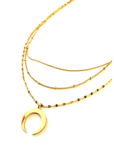 Gold Crescent Layer Necklace | Statement Fashion | Light Years Jewelry
