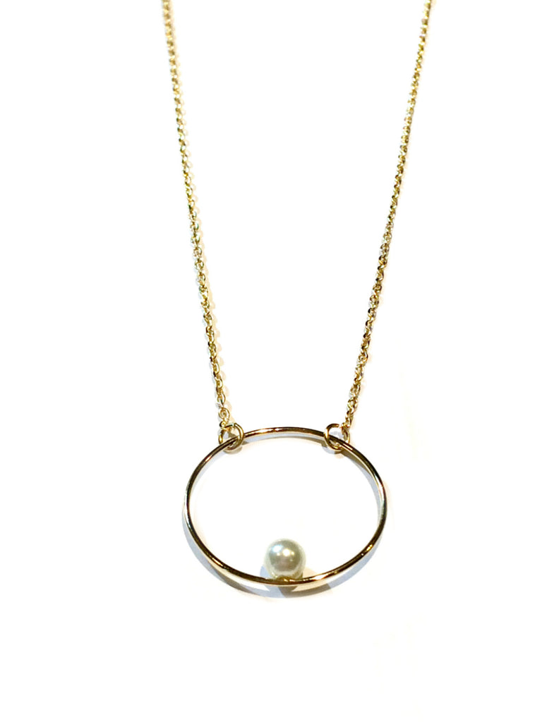 Pearl in Ring Necklace | Gold Plated Fashion | Light Years Jewelry