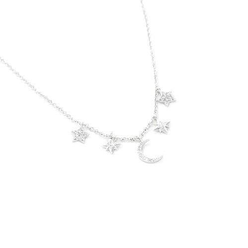 Celestial Charm Necklace | Silver Plated Moon Stars | Light Years