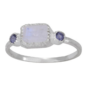 Moonstone & Iolite Ring | Sizes 6 7 8 9 Sterling Silver | Light Years