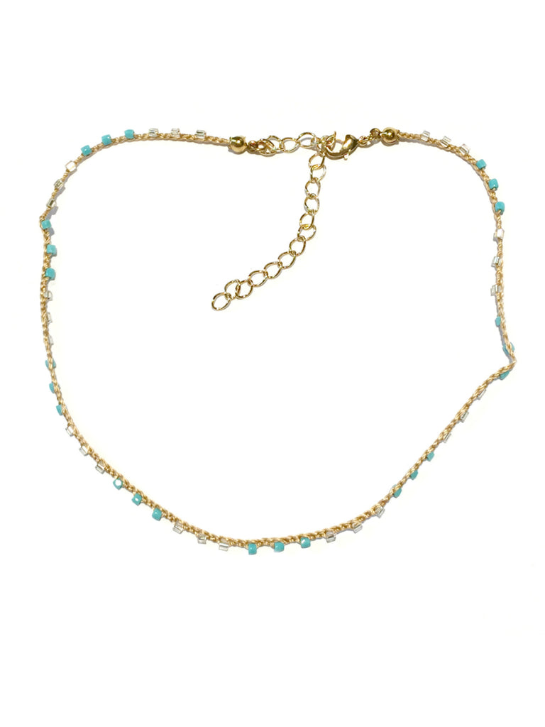 Handmade Beaded Choker | Turquoise or Clear Necklace | Light Years