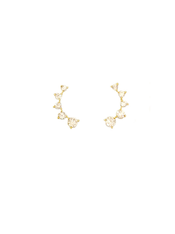 Curved CZ Posts | Gold or Silver Stud Earrings | Light Years Jewelry
