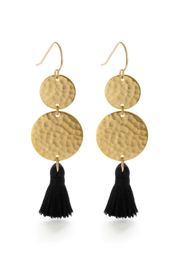 Hammered Disc & Tassel Dangles | Golf Filled Wires | Light Years Jewelry