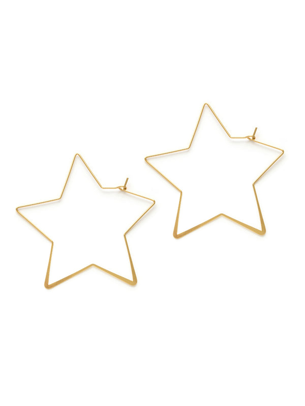 Gold Star Hoops | Gold Plated Earrings | Light Years Jewelry