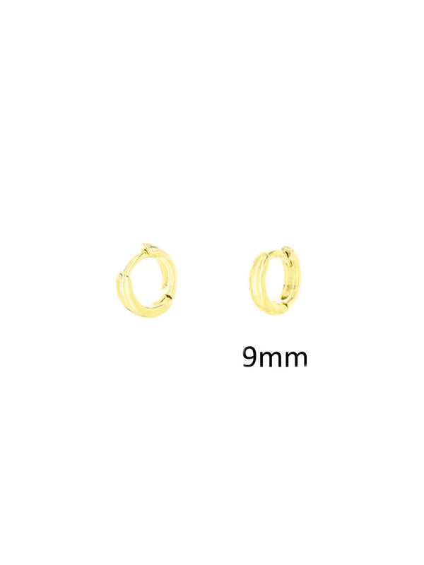 9mm Huggie Hoops | Gold Silver Plated Earrings | Light Years Jewelry