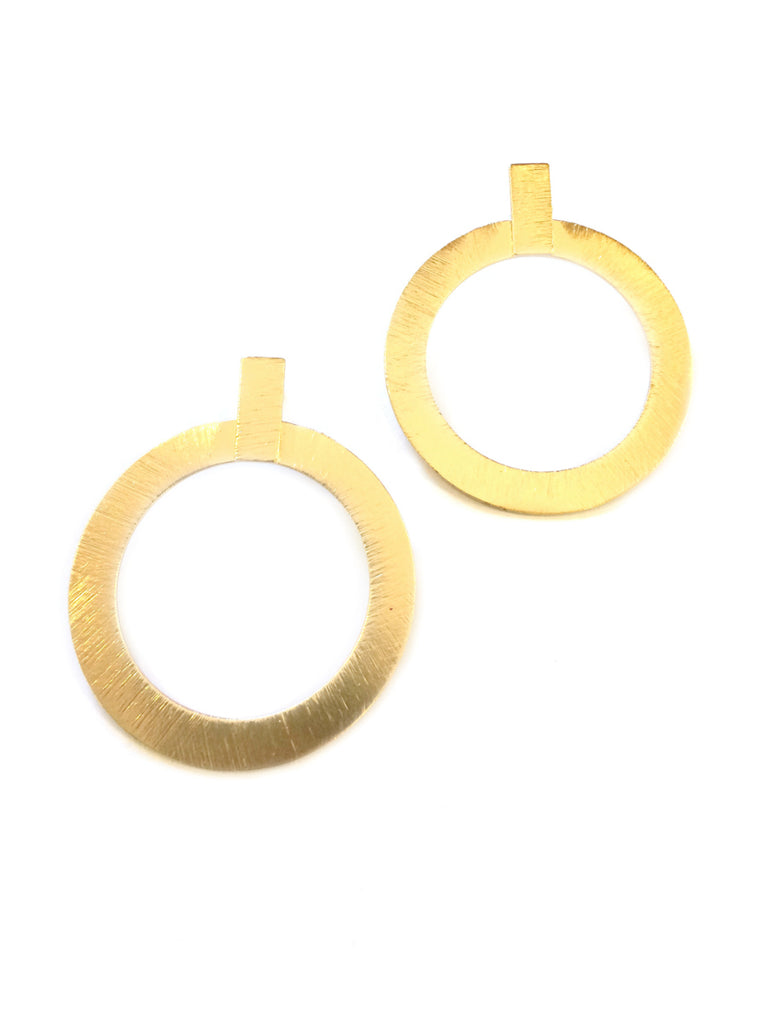 Etched Ring Statement Earrings | Gold Plated | Light Years Jewelry