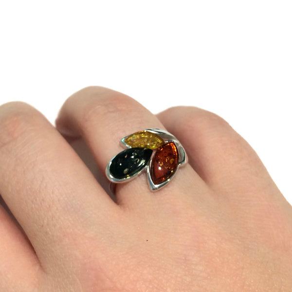 Tricolor Amber Ring