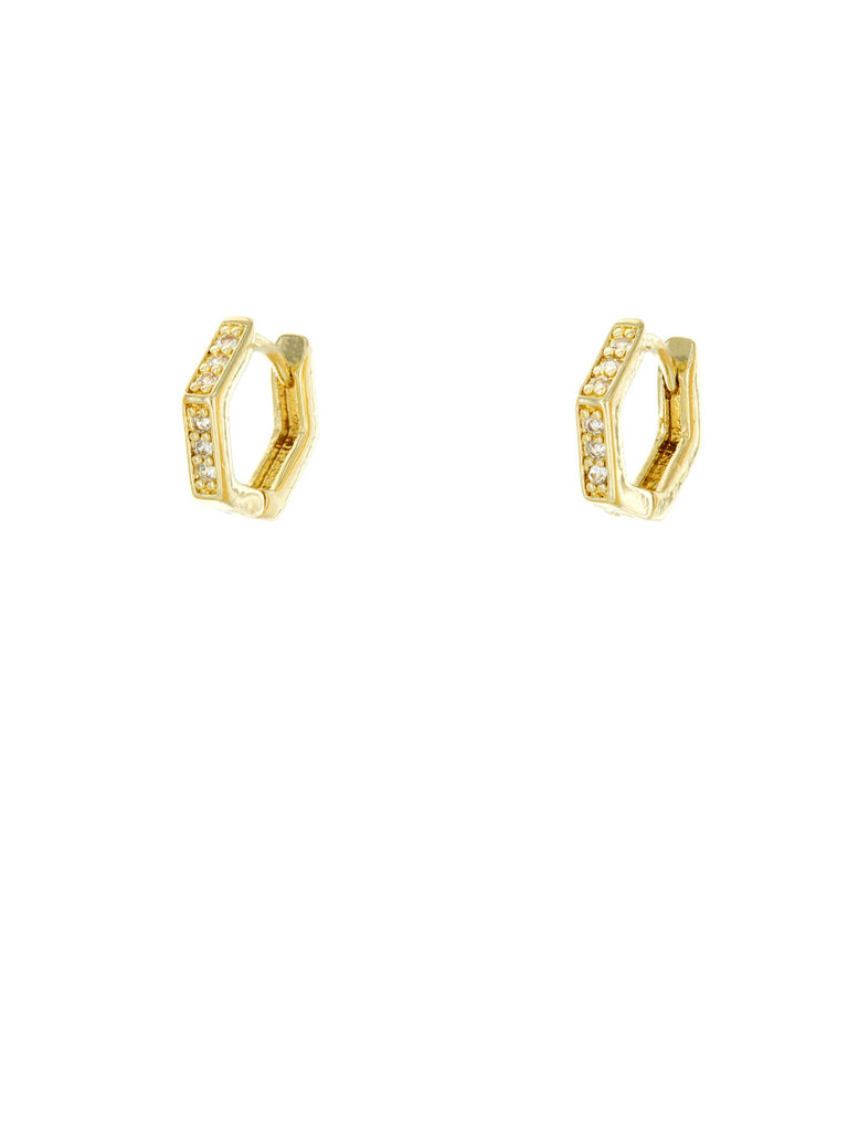 Angled CZ Huggie Hoops | Gold Plated Trendy Earrings | Light Years
