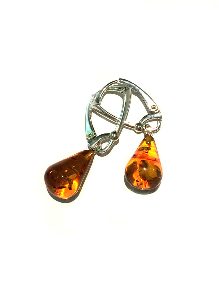 Cognac Amber Drops | Sterling Silver Earrings | Light Years Jewelry