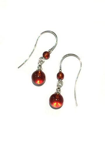 Amber Sphere Dangles | Sterling Silver Earrings | Light Years Jewelry