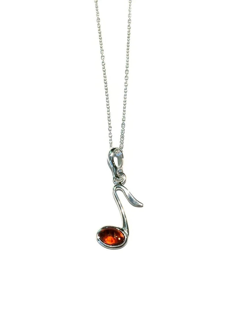 Amber music note necklace sterling silver chain pendant light years aloadofball Image collections