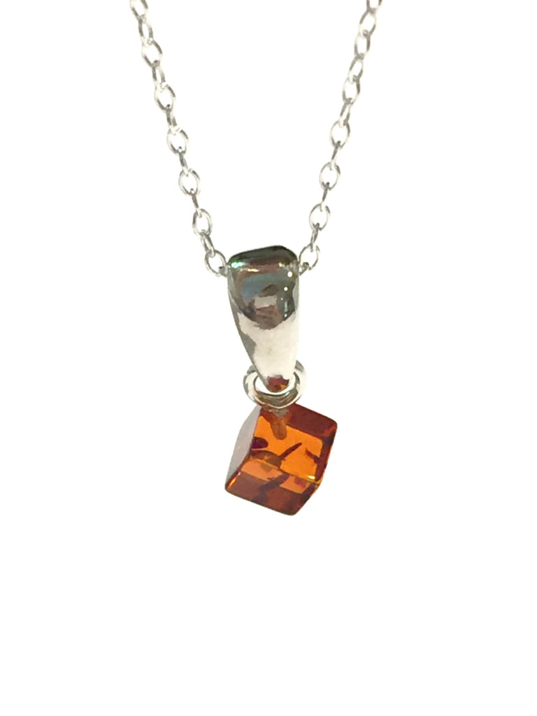Baltic Amber Cube Necklace | Sterling Silver Chain Pendant | Light Years