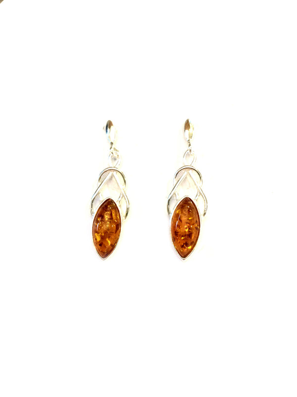 Twisted Amber Post Dangles | Sterling Silver Baltic | Light Years