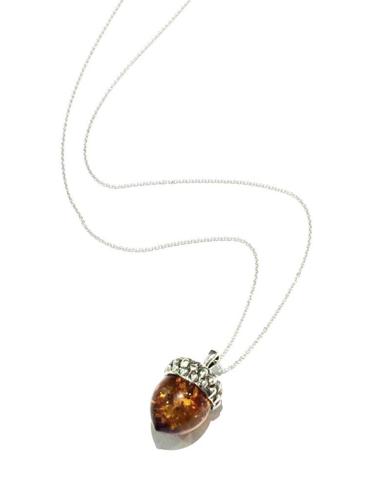 Amber Acorn Necklace | Sterling Silver Chain Pendant | Sterling SIlver