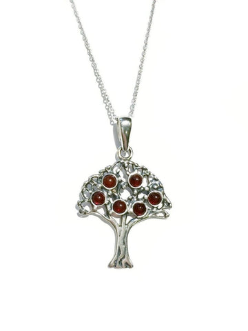 Amber Tree Necklace | Sterling Silver Chain Pendant | Light Years