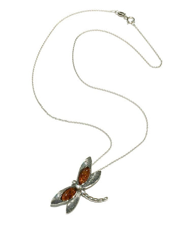 Amber Dragonfly Necklace | Sterling Silver Pendant Chain | Light Years