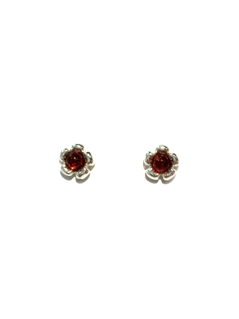 Honey Amber Flower Posts | Sterling Silver Stud Earrings | Light Years