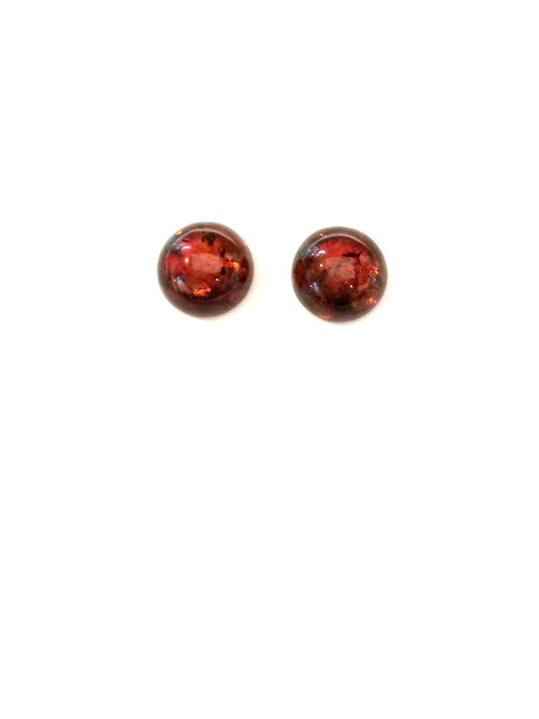 Baltic Amber Button Posts | Sterling Silver Studs Earrings | Light Years