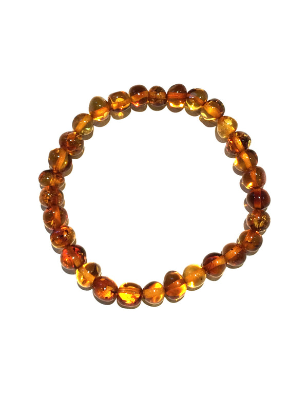 Beaded Amber Stretch Bracelet | Genuine Baltic Amber | Light Years